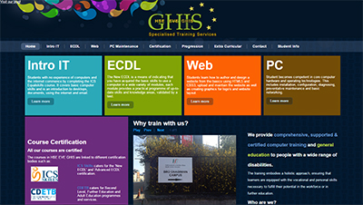 ©-C.C-13/04/2015-home page of GHIS website, shows picture slideshow and links to the other webpages.
